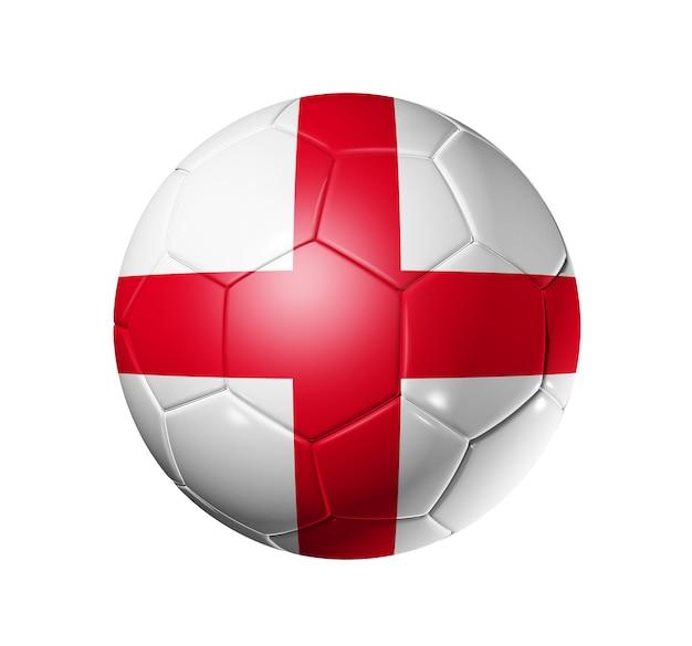 Bola de futebol 3d com bandeira do time de inglaterra