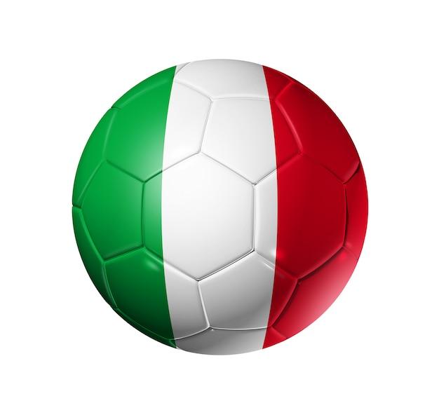 Bola de futebol 3d com bandeira do time de itália