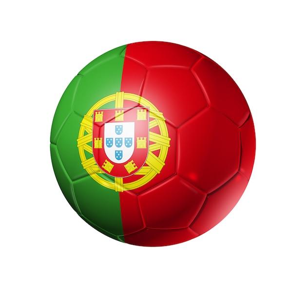 Bola de futebol 3d com bandeira do time de portugal