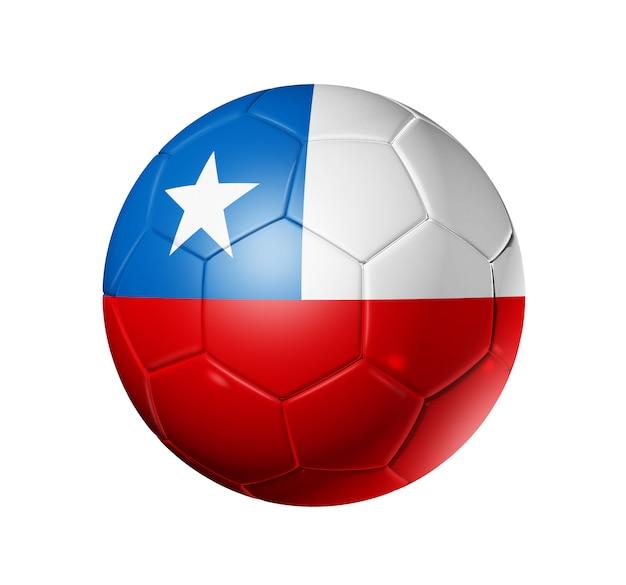 Bola de futebol 3d com bandeira do time do chile, copa do mundo de futebol
