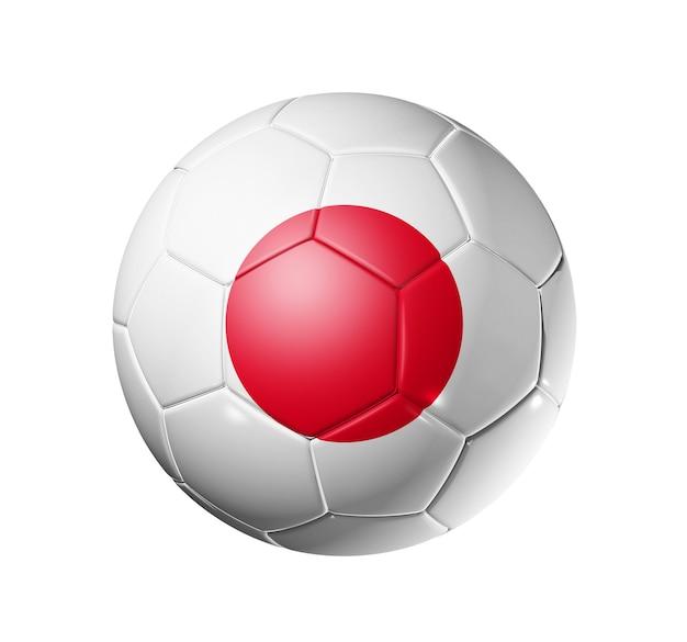 Bola de futebol 3d com bandeira do time do japão