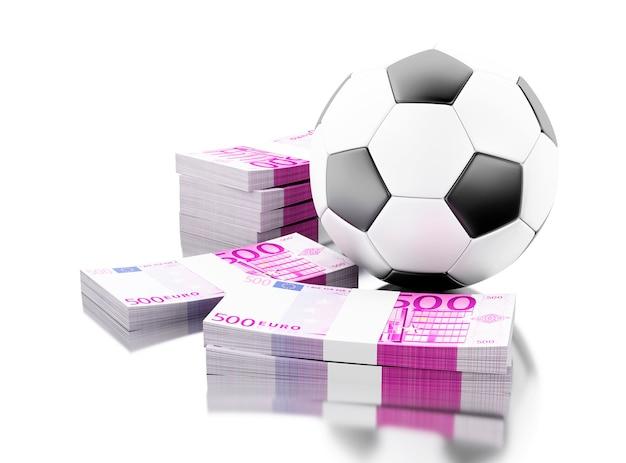 Bola de futebol 3d com dinheiro. conceito de apostas.