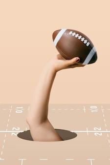 Bola de futebol americano segura pela mão de uma mulher no fundo marrom. ilustração de esporte e competição.3d