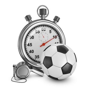 Bola de futebol, árbitro apito e cronômetro