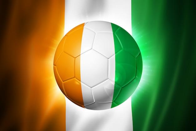 Bola de futebol com bandeira da costa do marfim