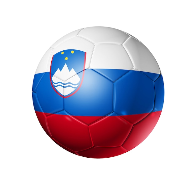 Bola de futebol com bandeira da eslovénia