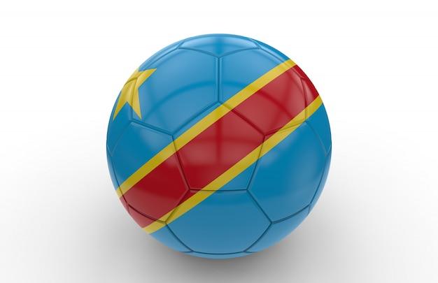 Bola de futebol com bandeira da república democrática do congo