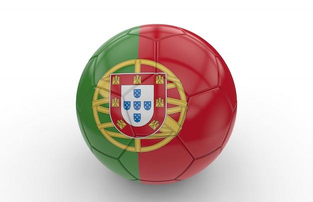 Bola de futebol com bandeira portuguesa