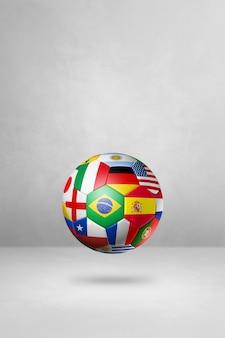 Bola de futebol de futebol com bandeiras nacionais isoladas em um fundo de estúdio em branco. ilustração 3d