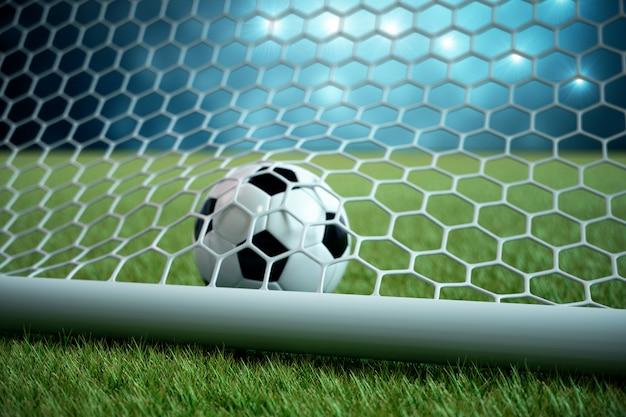 Bola de futebol de renderização 3d no gol. bola de futebol na rede com projetor e fundo claro do estádio, conceito do sucesso. bola de futebol em fundo azul com grama.