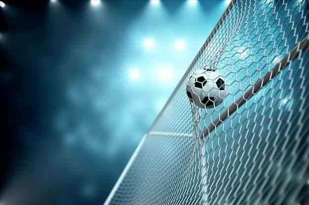 Bola de futebol de renderização 3d no gol. bola de futebol na rede com projetor e fundo claro do estádio, conceito do sucesso. bola de futebol em fundo azul.