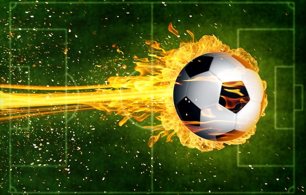 Bola de futebol em chamas de fogo