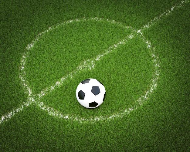 Bola de futebol em um campo de futebol