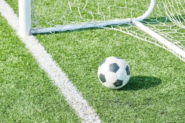 Bola de futebol na grama pela net