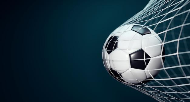 Bola de futebol na rede em fundo azul escuro.