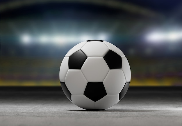 Bola de futebol no campo de um estádio da cidade - renderização em 3d