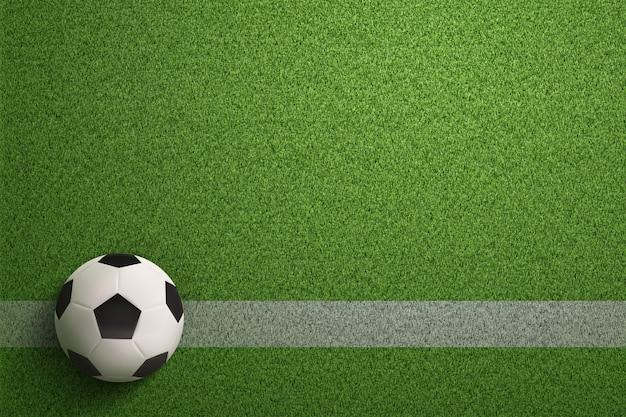 Bola de futebol no fundo do campo de futebol