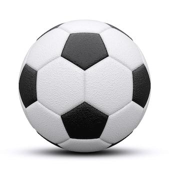 Bola de futebol preto e branco com sombra. isolado no branco. renderização 3d.