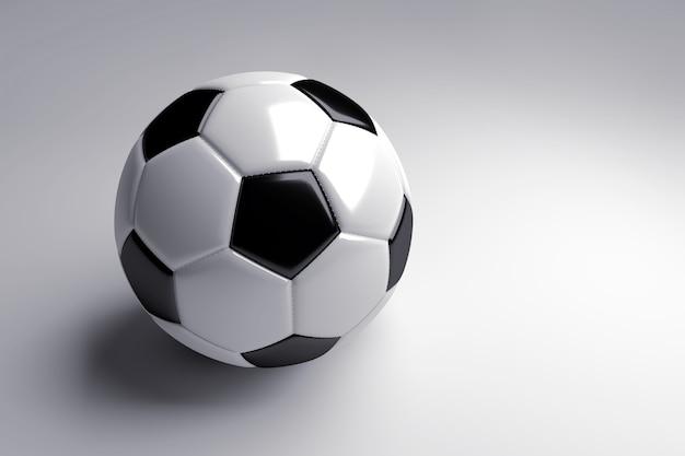 Bola de futebol preto e branco com sombra no fundo cinza. renderização 3d.