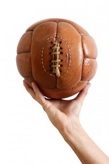 Bola de futebol vintage retro couro marrom