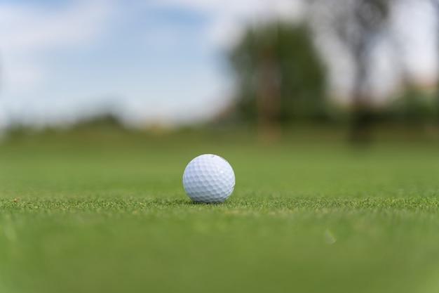 Bola de golfe branca em um campo de golfe