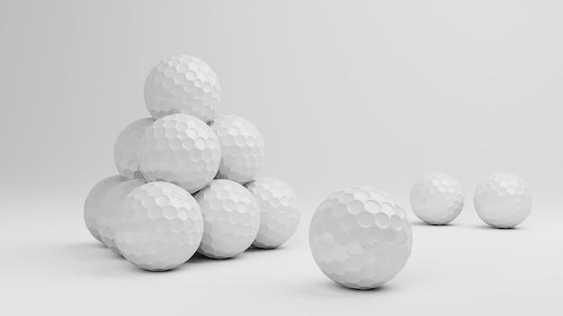Bola de golfe de renderização 3d em fundo branco