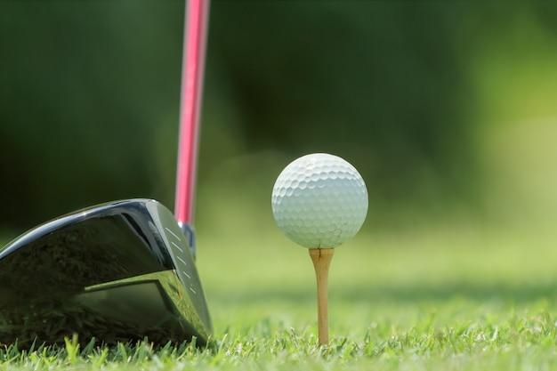 Bola de golfe em um tee
