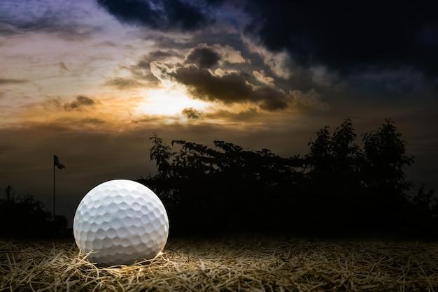 Bola de golfe no campo de golfe negligenciado
