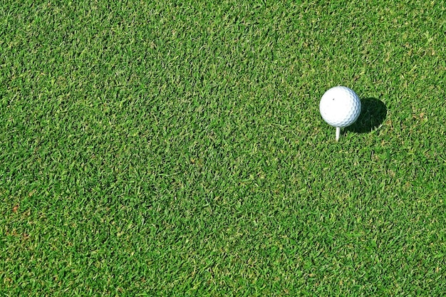 Bola de golfe no tee em um campo de golfe pronta para jogar