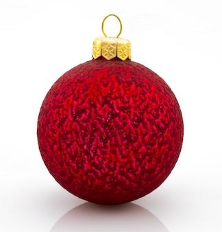 Bola de natal ano novo bugiganga decoração esfera vermelha ícone tradicional. branco brilhante do símbolo do inverno do merry xmas brilhante.