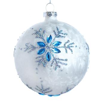 Bola de natal branco com um floco de neve