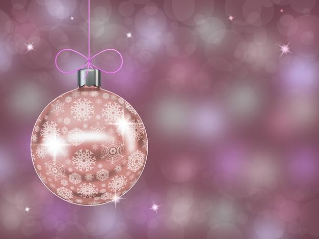 Bola de natal com flocos de neve em abstrato fundo desfocado. 3c d render.