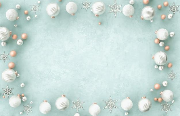 Bola de natal decoração moldura 3d fronteira natal, floco de neve sobre fundo azul. natal, inverno, ano novo. vista plana leiga, superior, copyspace.