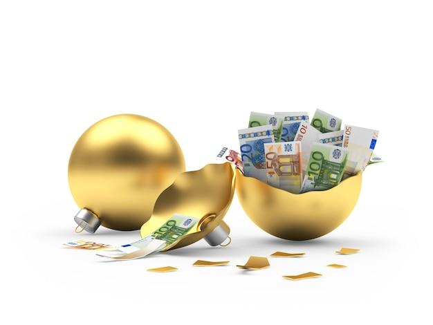 Bola de natal dourada inteira e cheia de notas de euro quebradas