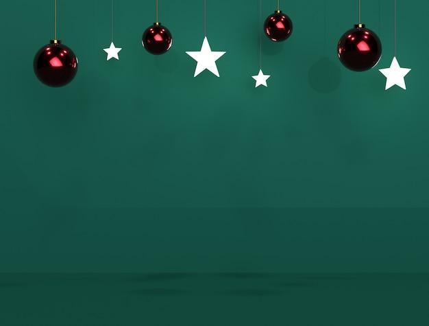 Bola de natal e estrela de fundo verde para banners ou promoções