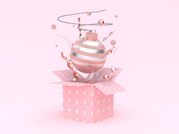Bola de natal flutuante caixa de presente, abrindo o fundo rosa