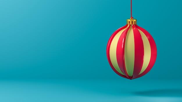 Bola de natal isolada sobre fundo azul. 3d render. modelo de cartão de felicitações, banner, para o ano novo e o natal