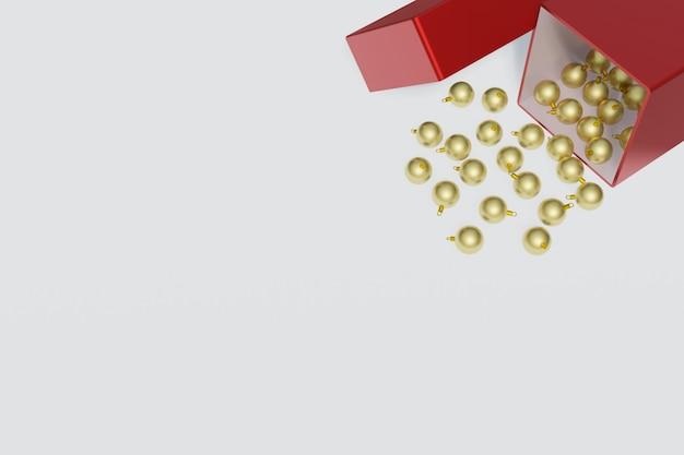 Bola de natal ouro rolada para fora da caixa de presente vermelha. com espaço de cópia. renderização em 3d.