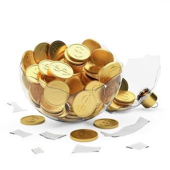 Bola de natal quebrada transparente cheia de moedas de ouro