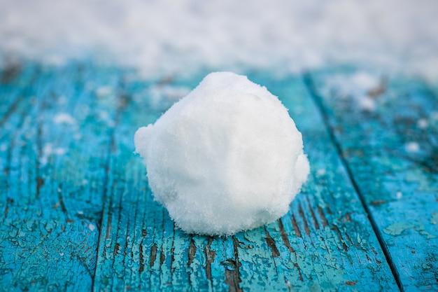 Bola de neve repousa sobre um tabuleiro pintado de azul coberto de neve