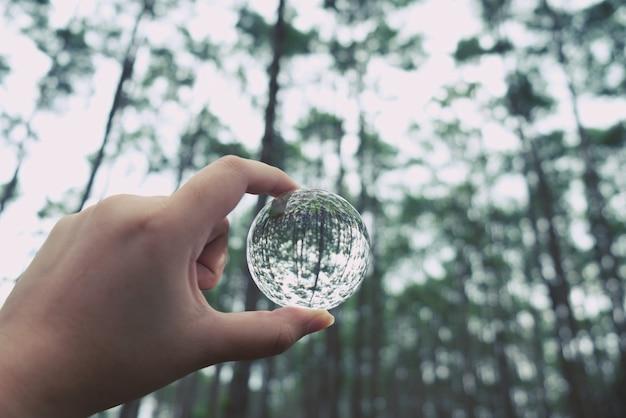 Bola de vidro de cristal salvar planeta limpo