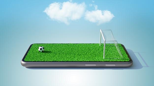 Bola e campo de futebol na tela do smartphone. conceito online de futebol, renderização em 3d