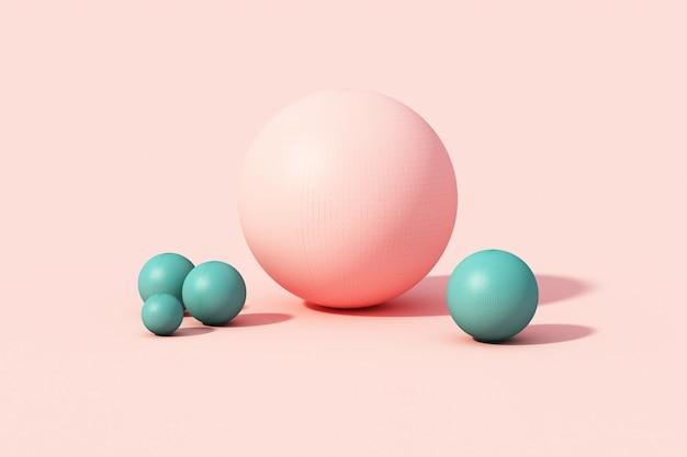 Bola esfera rosa e verde sobre fundo rosa pastel.