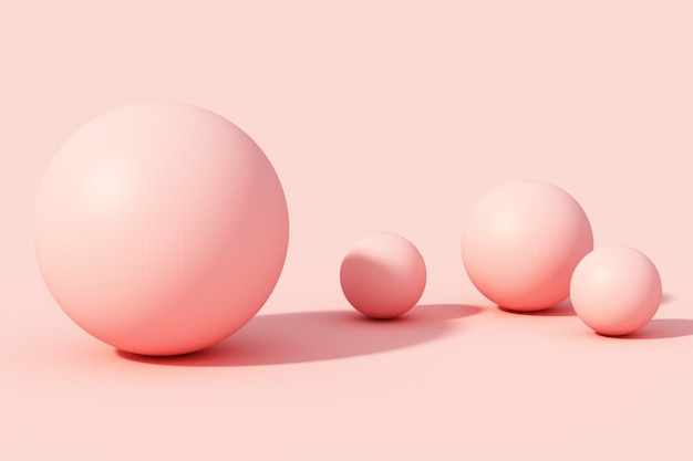 Bola esfera rosa em fundo rosa. 3d render