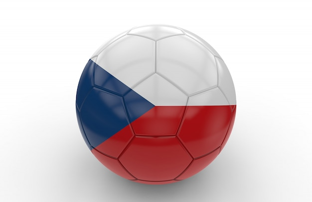 Bola futebol, com, bandeira checa