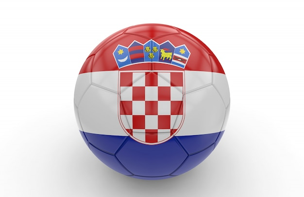 Bola futebol, com, bandeira croata
