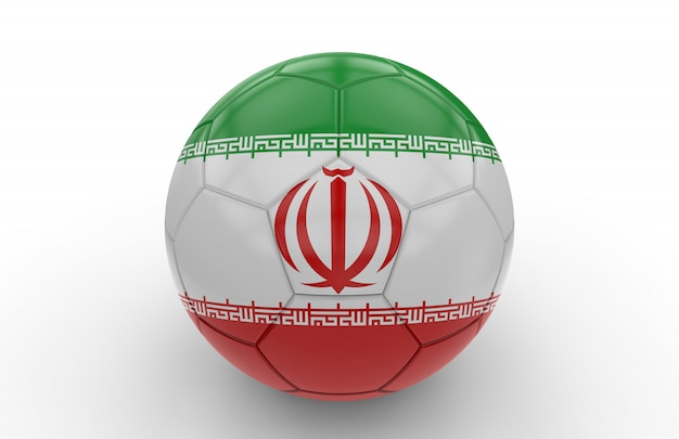 Bola futebol, com, bandeira irã