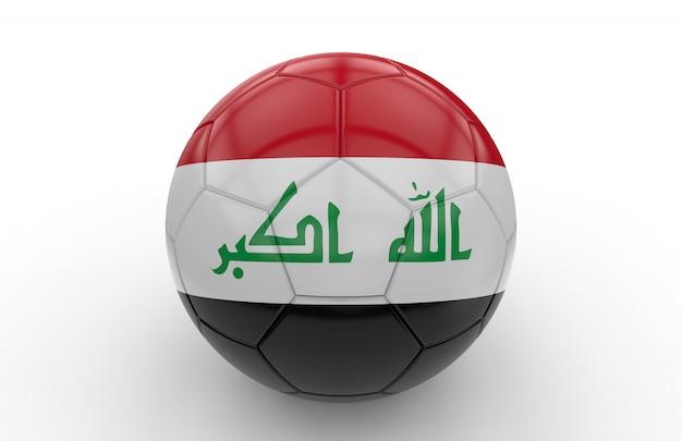 Bola futebol, com, bandeira iraquiana