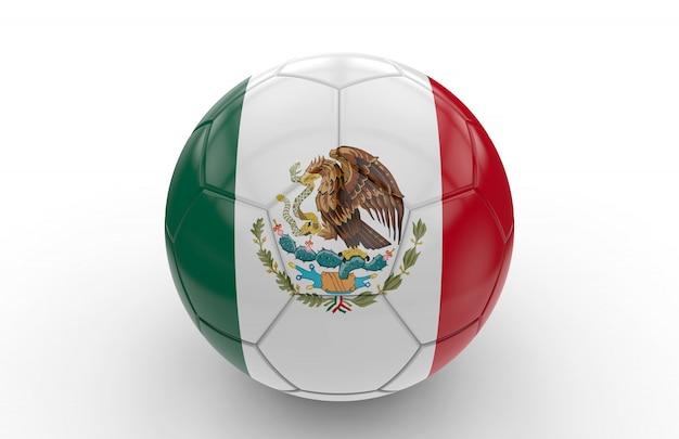 Bola futebol, com, bandeira mexicana