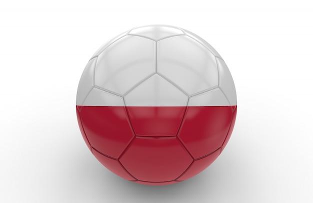 Bola futebol, com, bandeira polaca
